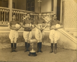 Rajpipla Polo Team 1943, comprising (from left) Maharajkumar Indrajeet Singhji, Yuvraj Rajendra Singhji, Maharaja Sir Vijaysinhji and Maharajkumar Pramod Singhji