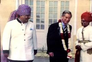 Thakur Bhawani Singh Ji BAGRI having conversation with Prince Charles and Maharaja Gaj Singh Ji Jodhpur