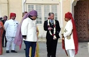 Thakur Bhawani Singh Ji Bagri with Prince Charles and Maharaja Gaj Singh Ji Jodhpur
