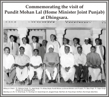 Pundit Mohan Lal (Home Minister Joint Punjab) visiting Dhingsara.