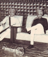 HH Maharaja FATEHSINGHRAO II GAEKWAD and Maharaj Man Singhji of Idar on left in 1958
