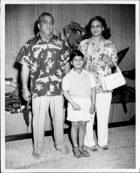 Maharaja Pratapsinh Gaekwar with Sita Devi and their only son Princie on their way to vacation, 1952