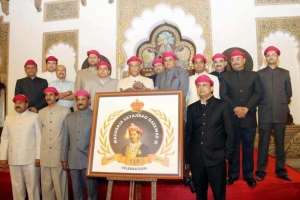 Maharaja Samarjeetsingh Gaekwad in the center on the day of the logo launch