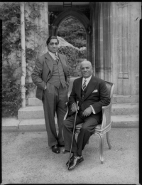 Maharaja Sayajirao Gaekwad with his grandson, the later Maharaja Pratapsinhrao Gaekwad, 1934