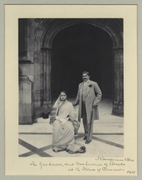Maharaja Sir Sayaji Rao III Gaekwad of Baroda with wife Maharani Chimnabai II in 1906