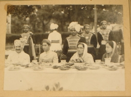 Maharaja of Baroda Fatehsinh Gaekwar (second from left) seen with Jodhpur royal family members on lunch