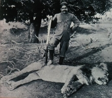 Maharaja of Baroda Sayajirao Gaekwad during a lion shoot in 1900