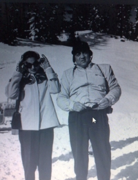 Maharani Sita Devi seen with Maharaja Pratapsinghrao Gaekwad at a ski resort in Europe in 1947
