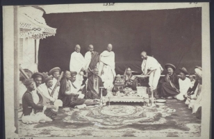 Maharani of Baroda Jamna Bai during a religious ritual in early 1870's