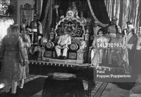 Pratap Singh Gaekwad (1908 - 1968), Maharaja of Baroda, sits enthroned at the start of the Durbar to celebrate his 40th birthday, Baroda (Vadodara), India, 21st January 1948