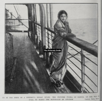 Princess Indira Raje of Baroda returning from Britain after her betrothal to Maharaja of Gwalior, Madhorao Scindia, 1911
