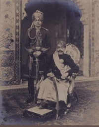Maharana Bhupal Singhji of Udaipur (1884 - 1955) with Major Gen. Rao Sahib Bedla Manohar Singhji, the then Prime Minister of Mewar State