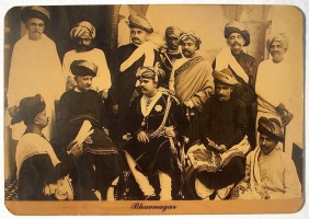 Maharaja Rawal Shri Takhtsinhji of Bhavnagar seen with the aristocracy of his court mainly comprised of Maratha nobility, circa 1884