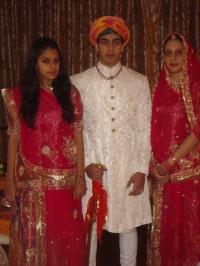 Yuvraj of Bhavnagar Jaiveerraj Singh Gohil with H.H. Maharani Samyukta Kumari of Bhavnagar and Princess Brijeshwari kumari of Bhavnagar (Bhavnagar)