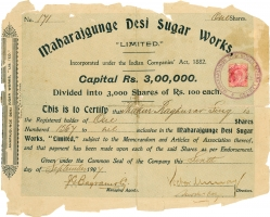 Share of Maharajgunge Desi Sugar Works, a Sugar Mill. Thakurs of Bidhupura were shareholders of big companies like Maharjgunge Desi Sugar Works, Calico Mills