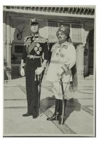 H.H. Maharaja Sri Sadul Singh of Bikaner with Lord Mountbatten at Lallgarh Palace, Bikaner