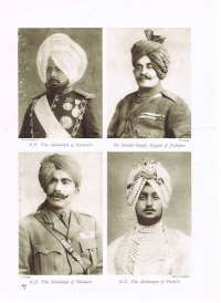 HH Maharaja Ganga Singhji of Bikaner alongwith Rulers of Jammu and Kashmir, HH Maharaja Sir Pratap Singhji of Idar and Jodhpur and Maharaja of Patiala