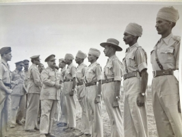 HH Maharaja Sadul Singhji of Bikaner, interaction with the troops of Bikaner State Forces, in Mesopotamia, 1943, WW II