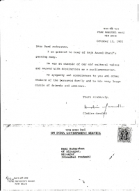 Grievance Letter from P.M Indira Gandhi on the demise of H.H.Raja Sir Anand Chand