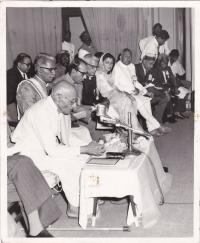H.H.Raja Anand Chand in Himachali Cap with Raja Ramgarh, Maharani Gyatri Devi, Raja Ji, Minoo Masani and Shri Rangaji (Bilaspur)