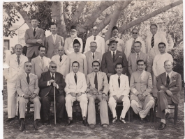 H.H.Raja Anand Chand sitting third from right with Mayo College Teaching Staff