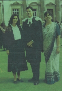 H.H.Raja Dr. Gopal Chand after PhD (Cantab) ceremony with Rajkumari Sunanda Chand and Rajmata Lady Sudarshana Chand