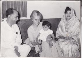 H.H.Raja Sir Anand Chand, Prime Minister Indira Gandhi, Tika Gopal Chand, H.H.Rani Lady Sudarshana Chand at Parliamentary Bungalow Delhi.