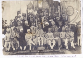 H.H. Raja Sir Anand Chand at Bilaspur Palace with other Maharajas