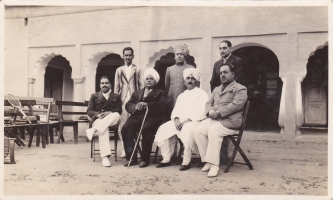 H.H. Sir Anand Chand 1st Standing with Maharajas of Himachal Pradesh