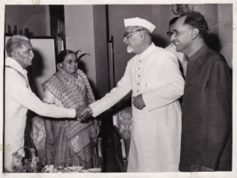 Mr.and Mrs Ranga, Swatantra Party shaking hands with President Zakir Hussain of India and H.H.Raja Sir Anand Chand