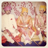 Kunwar Aridaman Singh of Kerote, Yuvaraj Eklavya Singh of Bissau and Kunwar Aanjneya Singh of Bissau at the wedding of Yuvaraj Eklavya Singh in 2012