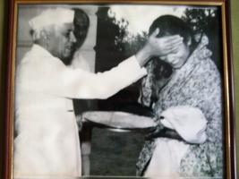 Rani Sahiba Sharda Devi of Bissau with Pandit Jawahar Lal Nehru