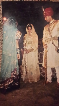 Thakurani Purnima Kumari & Thakur Pranai Singh of Bissau at their wedding reception in 1990