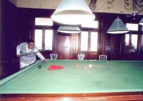Late H.H maharaval Virendra sinhji chauhan playing snooker at Kusum Vilas Palace of Chotaudepur