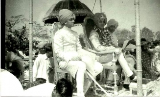 Maharaja Jagaddipendra Narayan with his younger brother Raj Kumar Indrajit Narayan and his cousin brother Kumar Goutam Narayan (son of Raj Kumar Victor Nityendra Narayan) in Cooch Behar