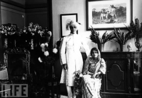 Maharaja Jitendra Narayan Bhoop Bahadur with his wife Maharani Indira Devi