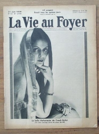 Maharani of Cooch Behar Indiraraje on the cover of a French magazine La Vie au Foyer,  July 1936 issue