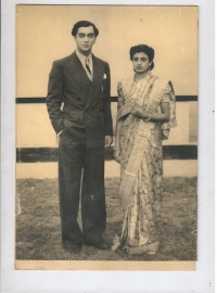 Prince Indrajitendra Narayan with wife Princess Kamala Devi at their wedding reception day in 1940s