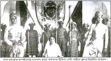 Rajmata Indira Devi with sons Maharaja Jagaddipendra (left) and MK Indrajitendra (right)