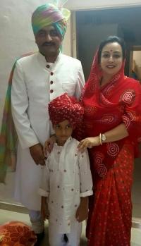 Yuvraj Riddhiraj Singh and Yuvrani Divyajyoti Singh with Bhanwarsa Prajayraj Singh