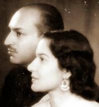 Maharaja Yeshwantrao Puar of Dewas Junior with his wife Maharani Menakaraje on his wedding day, 1942