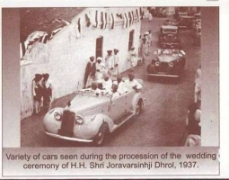 Variety of cars seen during the wedding ceremony of H.H. Shri Joravarsinhji Dhrol, 1937.