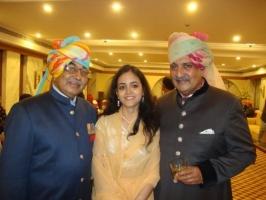 Princess Prakriti with Brig. KP Singhdeo, Raja Sahab Dhenkanal and Maharaja Gaj Singh of Jodhpur