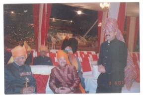 Raja Sahab Dompada with the Late Maharaja Bhawani Singh of Jaipur and Late Pattayet Saheb of Kalahandi Bikram Keshari Deo