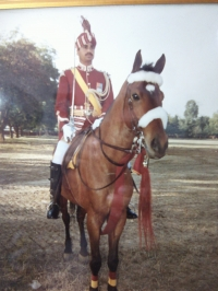 Col Thakur Devi Singhji of Hardesar in full Regalia as  Contingent Commander of Remount Veterinary Corps for 26th January 1989, Republic Day Parade, New Delhi