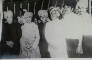 Maharaja Dr. Karni Singhji of Bikaner, attending marriage of Col Thakur Rajendera Singhji of Hardesar, also seen in picture Thakur Bhairon Singhji of Hardesar, Major Rajvi Jugal Singhji of Bogera