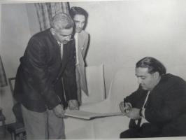 Thakur Bhairon Singhji and Maj Rajvi Jugal Singhji of Bogera with HH Maharaja Dr Karni Singhji of Bikaner