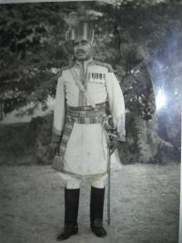 Thakur Bhairon Singhji in Ganga Risala (Bikaner Camel Corps uniform)