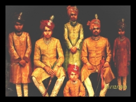 Maharaja Virendra Shah with his sons