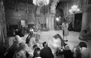 Durbar in the Zenana (womens quarters) of the City Palace on the occasion of the birthday of the Maharaja of Jaipur's son in 1964